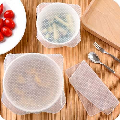 4Pcs Re-usable Silicone Wraps Stretch Fresh Food Wraps Silicone Food Bowl Covers Wrap Cling Film Household Fresh Food Keep Tool
