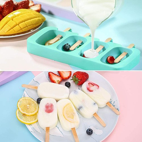 4 Hole Silicone Ice Cream Mould Ice Cube Tray Popsicle Barrel DIY Mold Dessert Ice Cream Mold with Popsicle Sticks