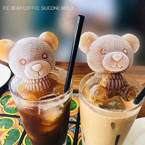 3D Ice Cube Maker Little bear dog Shape Tray Ice Cream Tool Teddy Bear DIY Kitchen Frozen Mold Wedding drink Decorating Tools