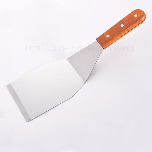 Steak and Hamburger Turner Burger Heavy Duty Polished Stainless Steel Grill Spatula Scraper With Wood Handle