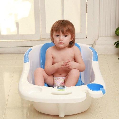 Dolphin Water Scoop Baby Bathtub Environmental Comfort Baby Bath Tub With Lying Plate Bath Rack Plus Size