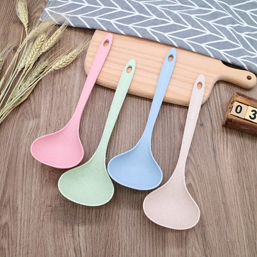 1Pcs Tableware Wheat Straw Rice Ladle 4 Colors Long Handle Soup Spoon Meal Dinner Scoops Kitchen Supplies Cooking Tool Safety