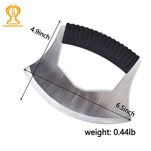Salad Chopper Rocker Knife for Disabled One Handed Use Mincing Chopper for Vegetables Pizza Cutter Rocker Roller with Cover