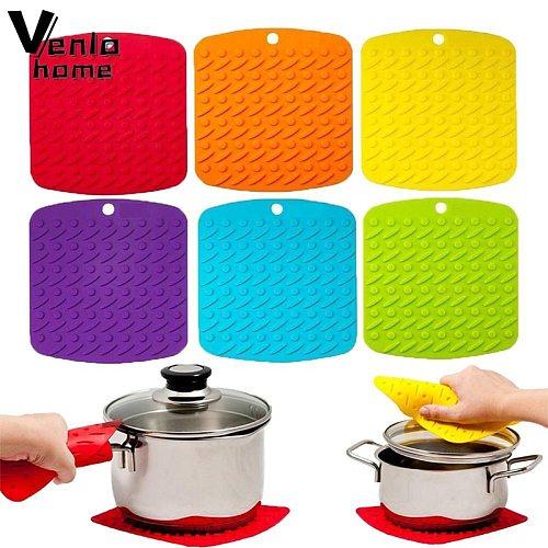 Silicone Pot Holder Potholders Heat Resistant Hot Pads Non Slip Coffee Trivet Mat Pad Mat Placemats Multipurpose Kitchen Tool