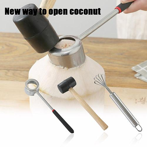 Coconut Opener Tool Set Food Grade 304 Stainless Steel Opener Coconut Meat Tool Wooden Handle Rubber Hammer Easy To Use Durable