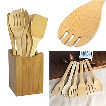 kitchen tools 1pc Bamboo Spoon Spatula Kitchen Utensil Wooden Cooking Tool Mixing Set
