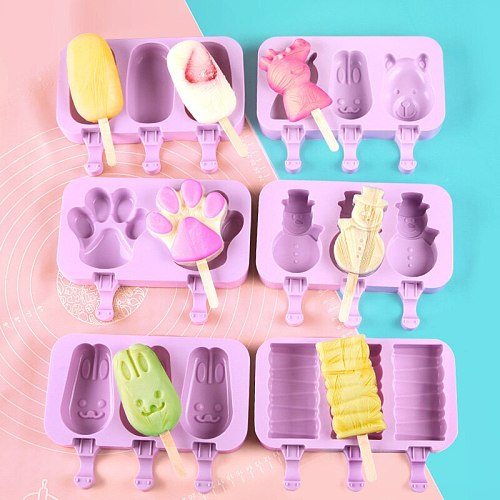 Cute Cartoon Silicone Ice Cream Mold Popsicle Molds DIY Homemade Dessert Freezer Juice Ice Pop Maker Mould with Sticks and Lids