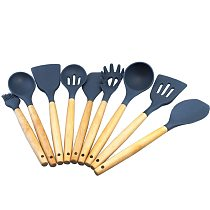 Cokytoop Wood Handle Cook Tools Silicone Slotted Turners Spoons Ladles Scraper Pasta Server Brush Kitchen Utensils Accessories