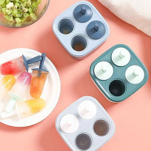 Freezer Juice 4 Cell Big Size Ice Tools Tray Ice Cream Chocolate Molds Ice Lolly Mould DIY Homemade Freezer With Lids and Sticks