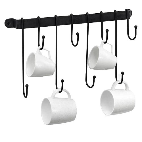 Coffee Mug Rack,Wall Mounted Coffee Cup Holder with Flexible Hooks,for Mugs,Teacups,Kitchen Utensils(16 Inch/Black)