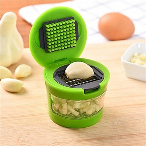 1pc Multi-function Garlic Press Random Color Cutting Garlic Stainless Steel Cooking Tools Kitchen Accessories
