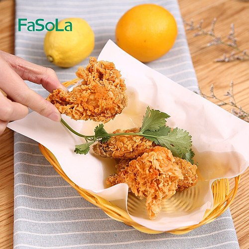 FaSoLa 50PCS/Bag Fried Food Oil Absorbing Paper Wood Kitchen Baking Barbecue Mat Paper Household Soup Degreasing Tools