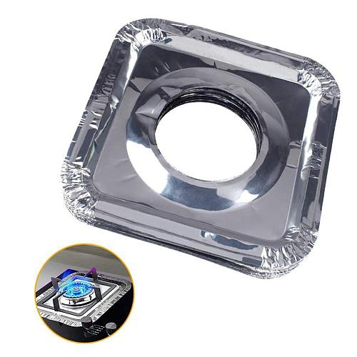 10pcs Kitchen Oil Proof Stove Liners Disposable Aluminum Foil Stove Burner Covers Gas Oven Pad For Cooking Kitchen Accessories