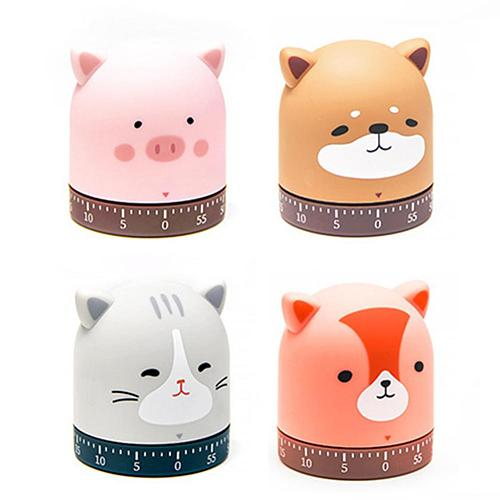 Kitchen Cooking Timer Mechanical Winding 60-minute Timer 360-degree Rotating Cat Dog Time Timer Baking Tools Timer Alarm