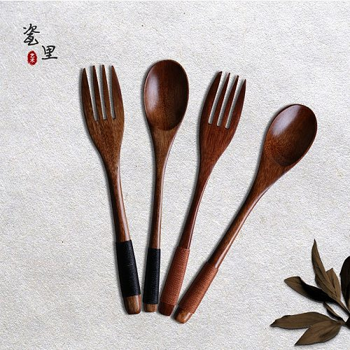 Japanese Log Fork Spoon Knife Lacquerless Solid Wood Fork Spoon Dinnerware Set Long Handle Winding Portable Tableware Cutlery