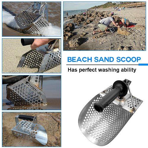 Beach Sand Scoop with Handle Metal Detecting Tool Stainless Steel Detector Fast Sifting Metal Detector