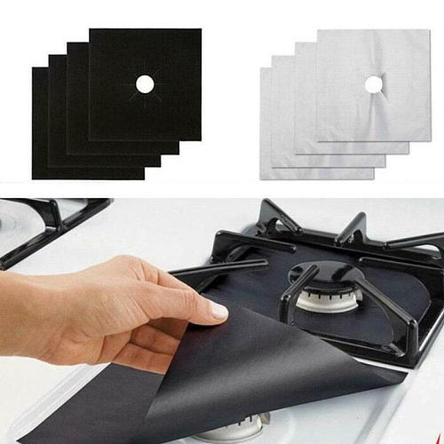 4pcs Kitchen Gas Stove Top Burner Reusable Protector Liner Cleaning Pad Cover Kitchen Gas Stove Accessories