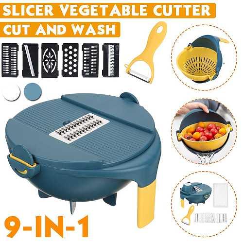 9 in 1 Mandoline Slicer Vegetable Grater Potato Cutter Peeler Carrot Onion Grater Peeler with Strainer Kitchen Accessorie