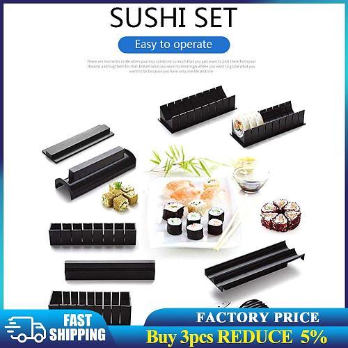 Home 10pcs DIY Sushi Maker Mold Rice Roller Sushi Making Set Kit Kitchen Sushi Tools Bento Accessories