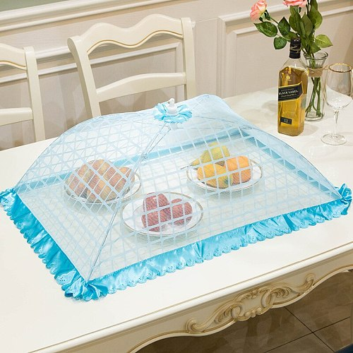 Large Size Lattice Reinforcement Dish Cover Folding Table Cover Big Food Cover Insect and Dust Cover Dish Cover
