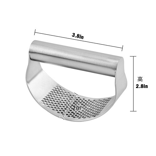 Stainless Steel Garlic Press Garlic Rolling Tool Curved Grinder Mincing Masher Durable Household Kitchen Cooking Gadgets