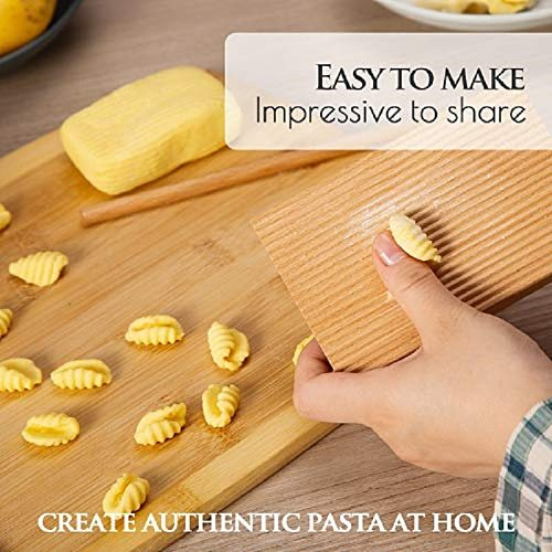 Gnocchi Board By Crafted Home Goods - Solid Wood Gnocchi Paddle With Garganelli Stick - Cavatelli Pasta Make