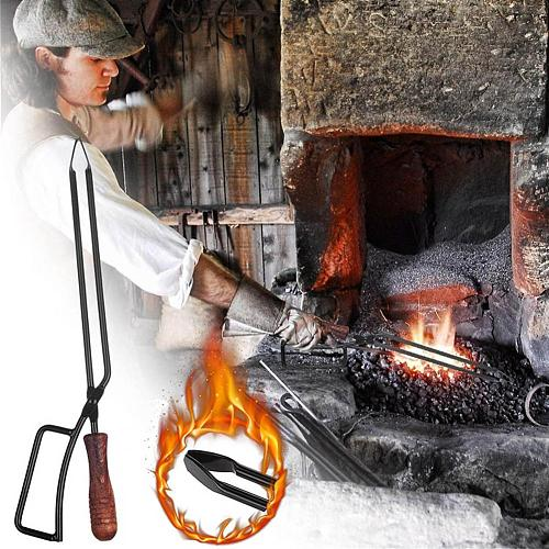 Hot Sales!!!  Grilling Tong Lightweight Rust Resistant Iron Scald-proof Handle Fire Charcoal Clip for Outdoor