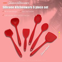 Kitchen Utensils Set Kitchenware Spatula Spoon Scraper Brush Tools Silicone Baking Cooking Cake Accessories Red 4/6 PCS Set