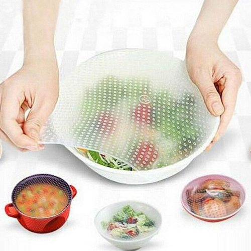 4pcs Reusable Stretch Cling Film Bowl Cup Pad Fresh Keeping Lid Food Storage Cover Silicone Wrap Seal Cover Kitchen Tools Gadget