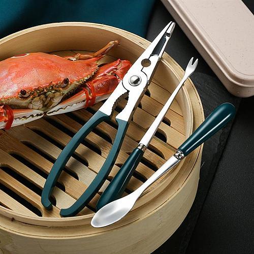 1 Set 3Pcs Crab Lobster Tools Seafood Shell Spoon Scissors (Assorted Color)