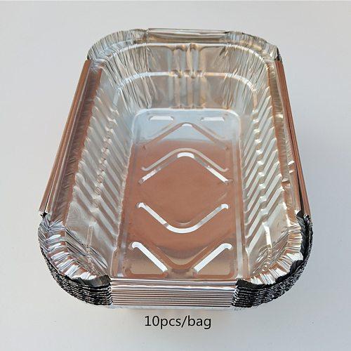 10pcs/Pack Aluminum Foil Grill Drip Pans for BBQ Weber Grills Roasting 700ml BBQ Aluminum Foil Grease Drip Pans Kitchen Utensils