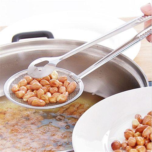 Silver Stainless Steel Colander Strainer Spoon Oil Scoop Drain Fried Chicken Leg Strainer Snack Fried Pan Food Clip Oil Strainer