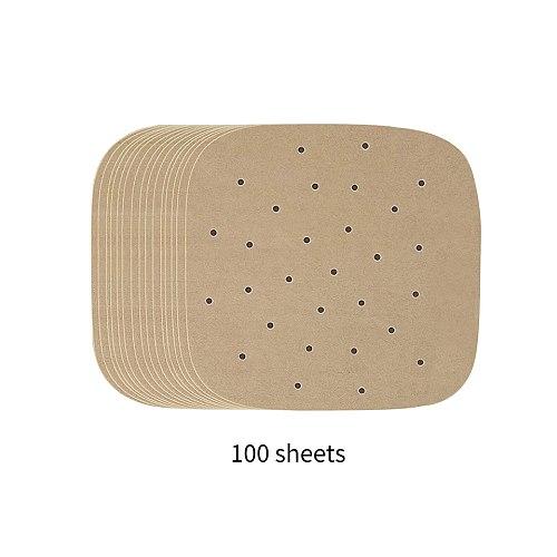 100pcs 21.6cm/8.5inch Air Fryer Paper Temperature Parchment Liner Oil Resistant Square Fryer Paper Water Resistant Parchment