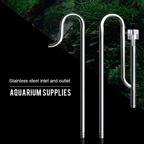 Aquarium Lily Pipe with Surface Skimmer Inflow and Outflow Stainless Steel for Aquarium Filter Planted Fish Tank Filter