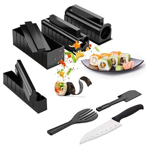 DIY Sushi Maker Kit Roller Rice Food Meat Rolling Tool Making Machine Kitchen Onigiri Set Bento Accessories Gadget Sticks Nori