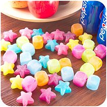 Delidge 20pcs Star Shaped Ice Cubes Plastic Reusable Multicolour Ice Cube Picnic Keep Drink Cool Physical Cooling Bar Tool