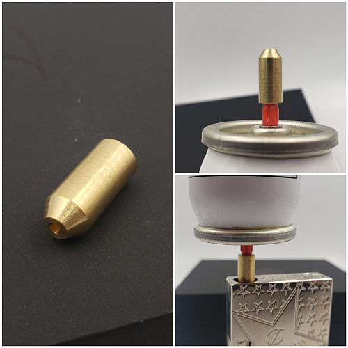 2pcs Reusable Brass Copper Nozzle Refill Butane Gas Adapter Inflatable Head For Dupont Ligne 2/Gatsby Gas Lighter Gas Filling
