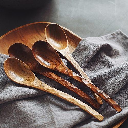 Visual Touch 1 Pc 20cm/7.9  Wood Spoons Soup Wooden Spoon Tea Coffee Gift Dinnerware Tableware Flatware