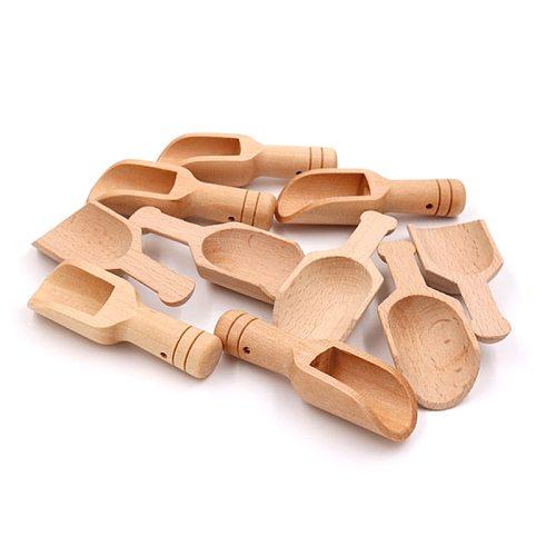 Mini Wooden Scoops Bath Salt Spoon Candy Flour Spoon Scoops Kitchen Utensils Bath Shower SPA Tool Laundry Detergent Powder Spoon