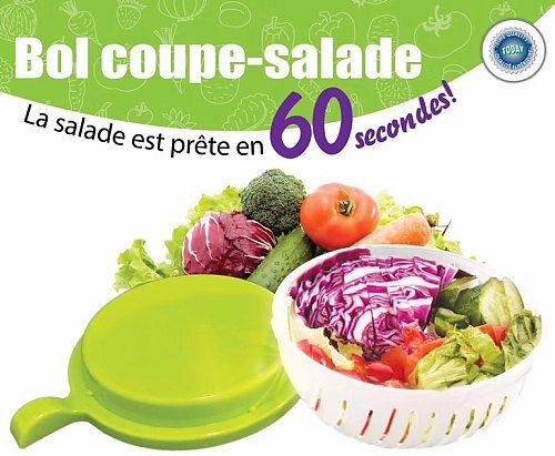 plastic Salad Cutter Bowl Easy Salad Maker, Quick Fruit and Vegetable Salad Chopper Bowl Fresh Salad Slicer
