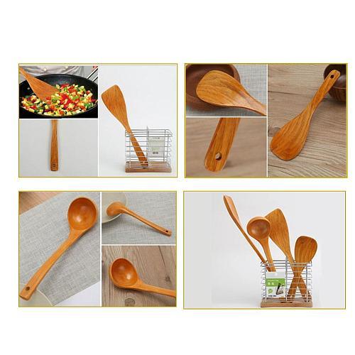 4 PCS Japanese Style Spatula Set Wood Shovel Spatula Set Non-stick Spatula Shovel Rice Spoon Soup Spoon