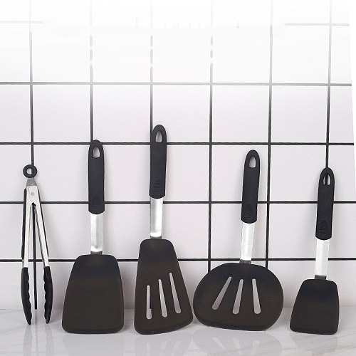 Creative Silicone Cooking Tool Sets Stainless Steel Handle Kitchenware Tools Shovel Fried Egg Non-stick Cookware for Kitchen