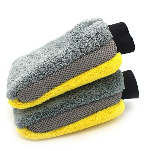 Car Wash Gloves Microfiber Coral fleece  Cleaning Wash Tools Thick Wipe Cloth Auto Care Double-faced Glove Cleaning Mitt