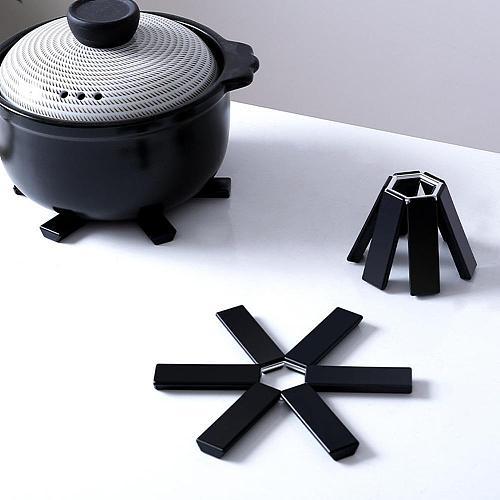 Black Foldable Non-slip Heat Resistant Pad Trivet Pan Accessories Coaster Placemat Cushion Kitchen Pot Holder Mat X1Q6