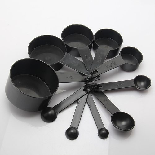 New Arrival 10 pcs/set Black Color Plastic Measuring Cups And Measuring Spoon Scoop For Baking Coffee Tea Kitchen Tool LSSJT