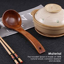 Wooden Soup Ladle Long Handle Porridge Scoop Soup Wooden Spoon Home Cooking Spoon Tableware Kitchen Cooking Utensil