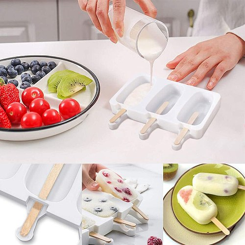 4 Cell Big Size Silicone Ice Cream Mold Ice Cube Tray Popsicle Molds Homemade Dessert Fruit Ice Pop Maker Mould with Sticks