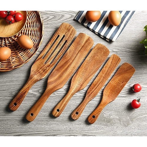 6 Pack Natural Teak Cooking Utensils Set, Non Stick Wooden Cookware Slotted Spurtle Spatula Sets for Stirring, Mixing