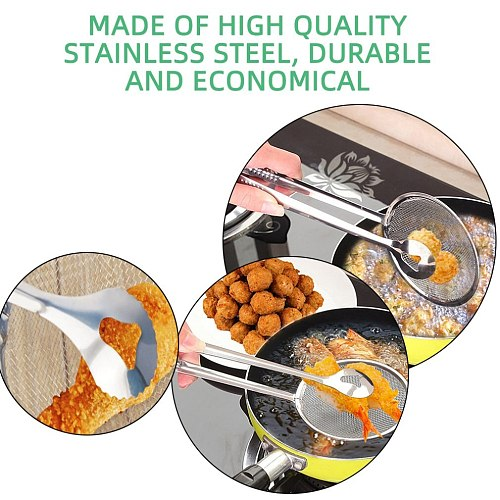 Multi-functional Stainles Steel Filter Spoon With Clip Food Kitchen Stainless Steel Oil-Frying Skimmers Salad BBQ Filter