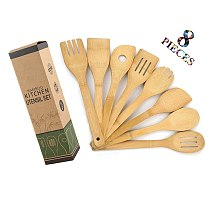 8Pcs/Set Bamboo Utensil Kitchen Cooking Tools Wooden Natural Healthy Easy Spoon Spatula Fork Mixing Kitchen Food Cooking Tools